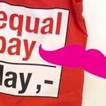 Rote Tasche und pinker Schnurrbart