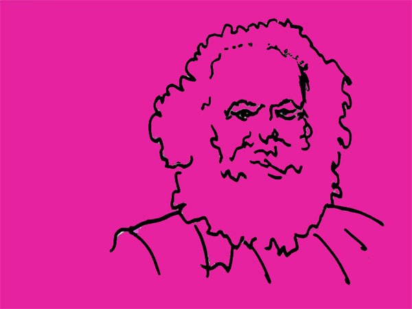 Portrait Karl Marx in pink