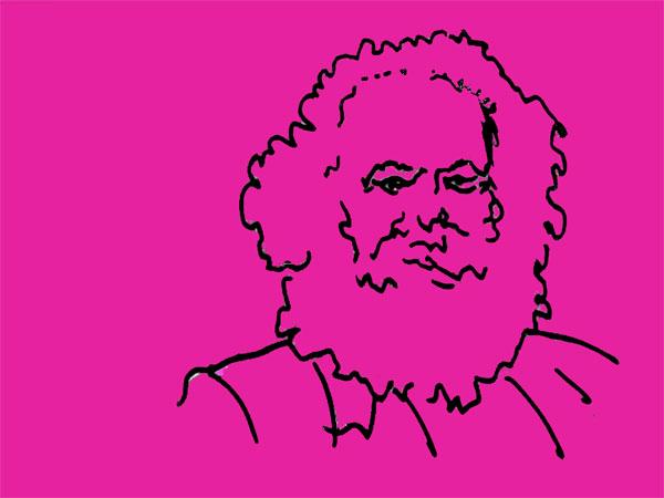 Portrait Karl Marx in pink