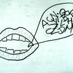 Mund mit Sprechblase voller Buchstaben