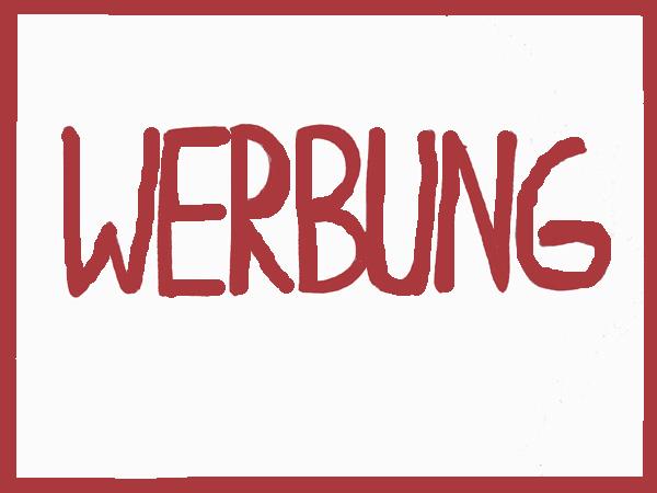 Zorniger Kaktus, Schriftzug Werbung, rot
