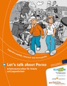 Titelseite vom Heft Let´s talk about Porno. Comic-Zeichnung. Im Hintergrund viele Pärchen, im Vordergrund: ein Pärchen Händchen haltend