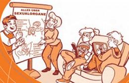 Eine Comic-Zeichnung in orange-weiß. Eltern versuchen Ihren desinteressierten Kindern ein Plakat über Sexualorgane zu eklären