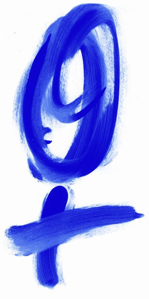 Frauenzeichen in Blau