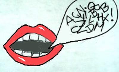 Geöffneter Mund mit Sprechblase