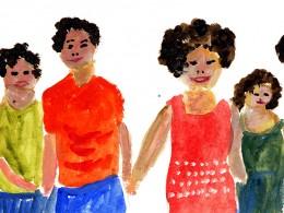 mod. Malerei, vier Personen halten sich an der Hand