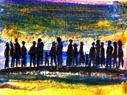 mod. Malerei, Silhouetten von Menschen
