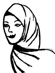 gemalte Frau mit Kopftuch
