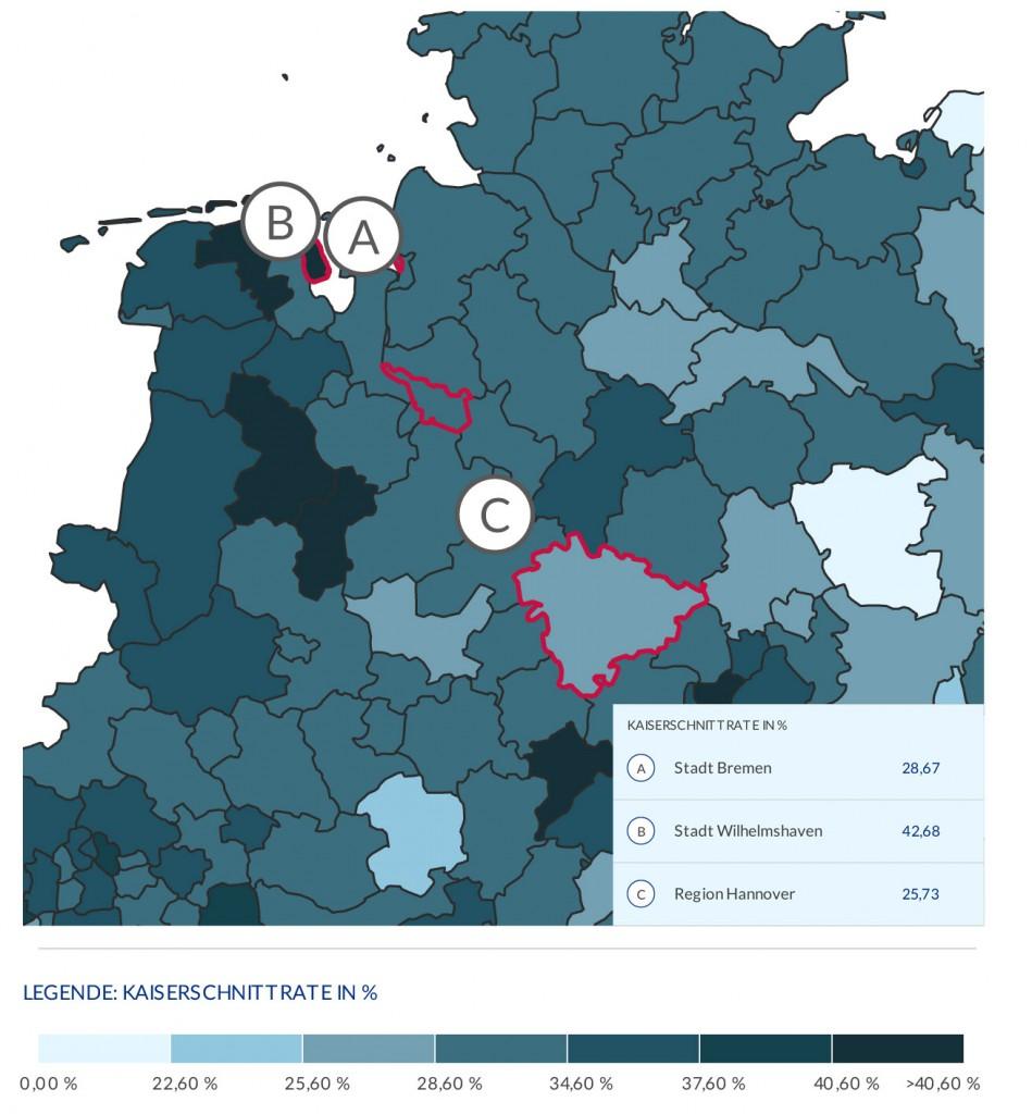 Karte von Norddeutschland mit angemarkerten Städten
