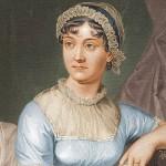 Gemälde von Jane Austen, die auf einem Stuhl sitzt