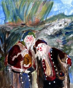 Zeichnung, zwei trolle mit weißem Rauschebart