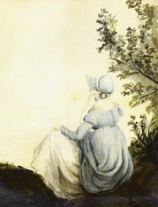 Wasserfarben-Gemälde mit Rückenansicht von jane Austen