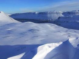Landschaft, Berge im Schnee: Winter in den Westfjorden bei Isafjördur, Hauptstadt der Westfjorde