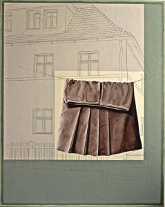 Brauner Rock vor einer Zeichnung