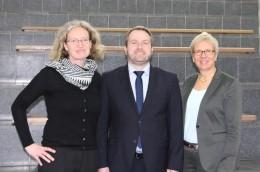 v.l.: Christiane Stork, Körber-Stiftung, Thomas Külle, Nordmetall-Stiftung und Senatorin Eva Quante-Brandt (c) Pressereferat der Senatorin