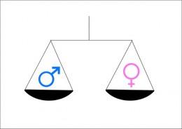 Waage in deren Schalen die die Icons für männlich und weiblich gleiches Gewicht haben