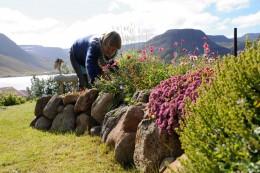 Frau arbeitet an einem Steinbeet