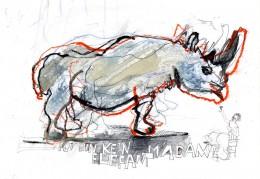 Ulrike Leopold, Nashorn mit Schriftzug