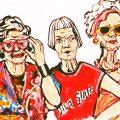 Gemaltes Bild von drei älteren, stylischen Damen