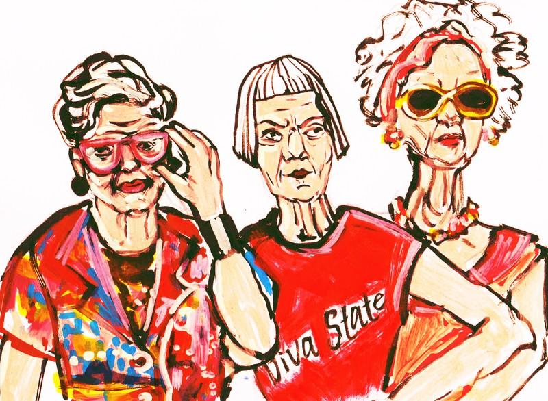Gemaltes Bild von drei älteren, stylishen Damen