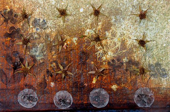 Malerei mit Blumen und Insekten