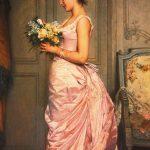 Gemälde von einer Frau, die einen Blumenstrauß und einen Brief hält