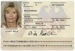 Muster-Reisepass von Erika Mustermann