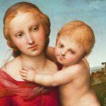 Gemälde: Nachdenkliche Madonna mit Baby