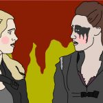 Zeichnung, zwei junge Frauen sehen sich an