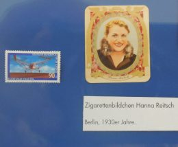 Briefmarke zur Luftfahrt und Sammelbild von Hanna Reitsch