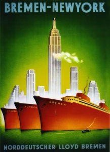 Drei Schiffe des Norddeutschen Lloyds vor der New Yorker Skyline