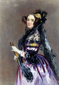 Ölbild Frauenporträt, Frau mit dunkelbraunen seitlich hochgesteckten Haaren, goldenem Haarschmuck, steht in violettem Kleid, von der Seite gemalt