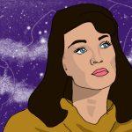 Zeichnung: dunkelhaarige Frau vor Sternenhimmel