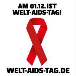 Rote Aids-Schleife auf weißem Hintergrund zum Welt-AIDS-Tag 2016