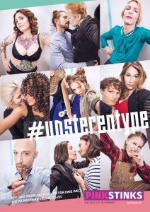 ein Plakat zu #unstereotype mit sechs Bildern, die zum Beispiel eine tättowierte Frau in Unterwäsche, zwei sich küssende Männer oder einen Mann, der Lipgloss aufträgt zeigen