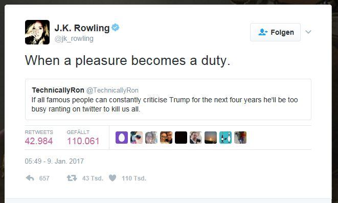 "J. K Rowling schreib in Twitter ""When a pleasur becomes a duty"""