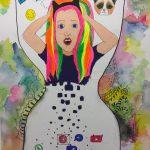 Gemälde von Heike Tammen: Mädchenkopf in der Mitte einer Sanduhr, nach unten hin löst sich der Körper in die Zeichen sozialer Netzwerke auf, nach oben sind Zeichen wie ein Likebutton, eine Katze und ein Einhorn zu sehen