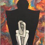 Gemälde von Leonie Iwohn: Umriss einer großen Person, in dem Umriss sitzt ein Mensch in der hocke, hält die Hände auf den Kopf der nur aus einem Auge besteht