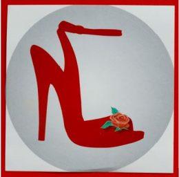 Ein gemaltes Bild von einem roten Stöckelschuh als Zeichen für Arztpraxen, die Sexarbeiterinnen willkommen heißen
