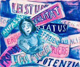 Gemaltes Bild einer Frau inmitten von einengenden Gedanken