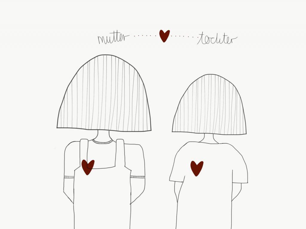 Mutter und Tochter von hinten gezeichnet, beide haben ein rotes Herz auf der linken Seite, Überschrift Mutter, ein Herz wie das auf der Brust, Tochter