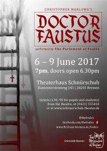 Plakat für die Aufführung von Doctor Faustus vom 6.-9. Juni 2017 im Schnürschuh Theater Bremen