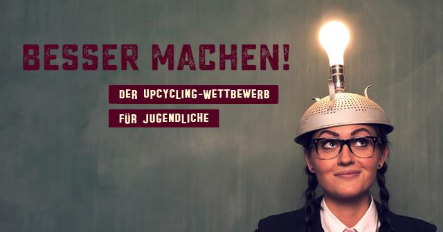 Upcycling-Wettbewerb, Junge Frau mit Glühbirne aus dem Kopf