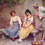 Zwei Frauen in altmodischen Kleidern sitzen auf einer Bank. Daneben steht ein Mann mit Hut, der sich mit ihnen unterhält und flirtet. Im Vordergrund steht ein Korb mit Äpfeln