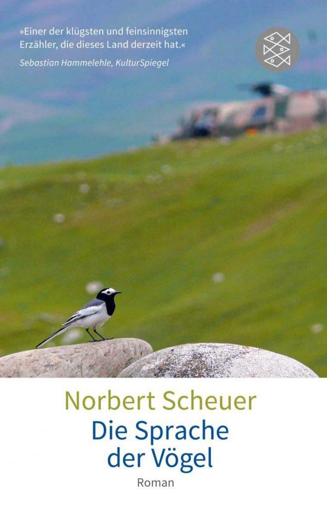 Die Sprache der Vögel, Buchcover mit Vogel auf Stein