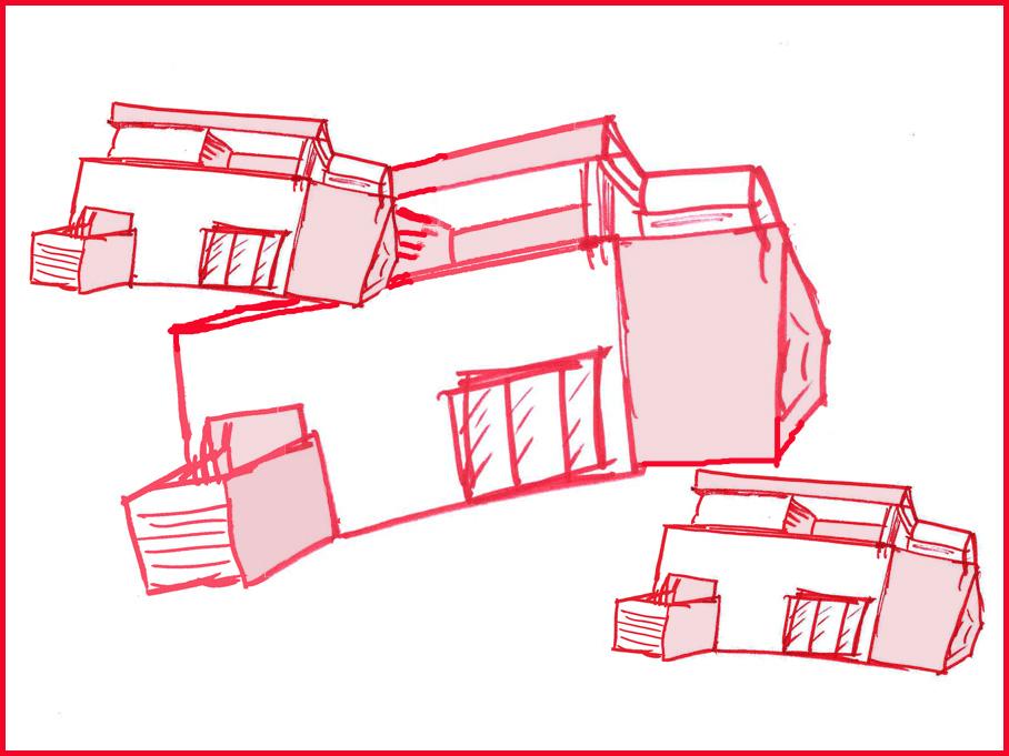 baustil, Zeichnung eines kastenförmigen Hauses