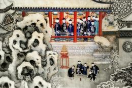 Chinesischer Garten voller Kinder und Angehöriger der Qing Dynastie in traditionellem Gewandt