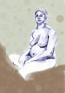 Akt einer nackten, schwangeren Frau