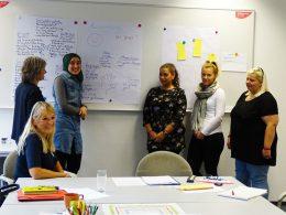 Fünf Frauen vor einer Tafel vom Projekt JobKick PLUS