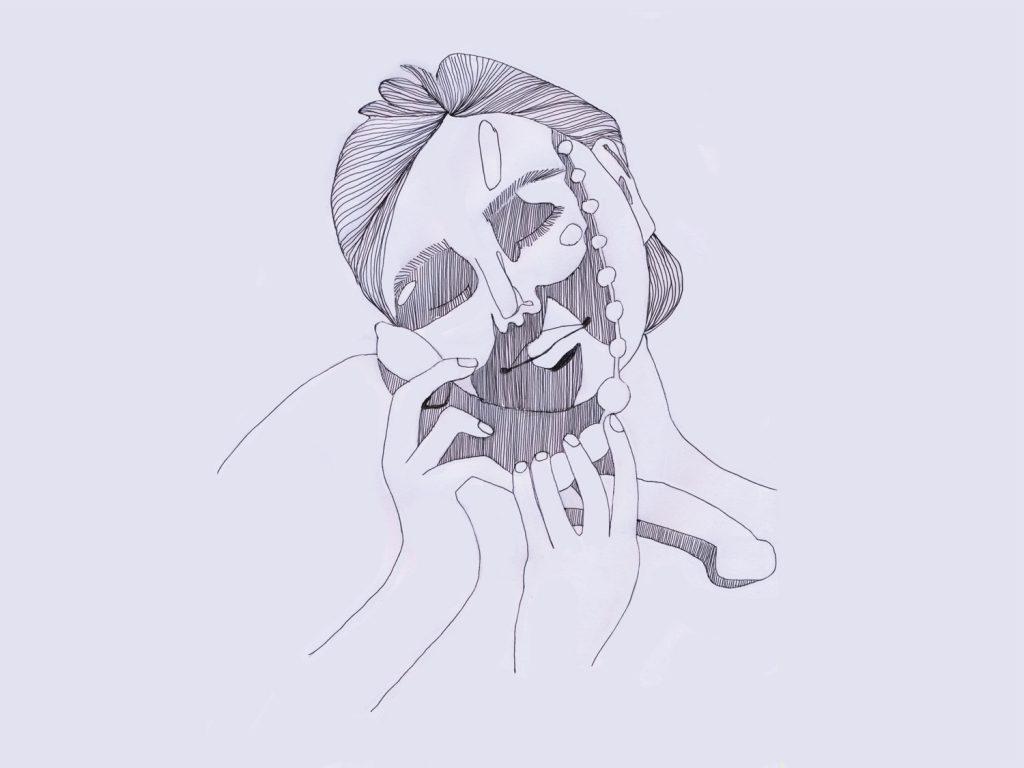 Schwarz-Weiß Zeichnung des Gesichts einer lächelnden Frau mit geschlossenen Augen, die in den Händen verschiedenes Sexspielzeug hält. Eileen Kelly.